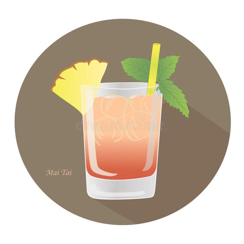 Вручите вычерченную иллюстрацию вектора коктеиля рома спирта Mai Tai с лист мяты бесплатная иллюстрация