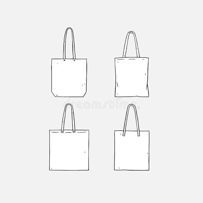 Вручите вычерченную иллюстрацию вектора пустой белой сумки tote на белой предпосылке Сумка ткани шаблона хозяйственные сумки холс стоковая фотография rf