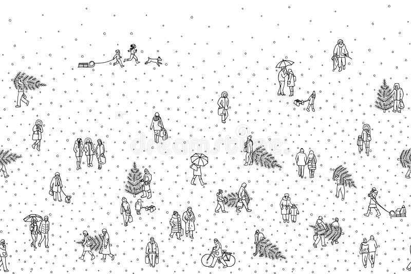 Вручите вычерченную иллюстрацию крошечных пешеходов идя в зиму через город иллюстрация вектора