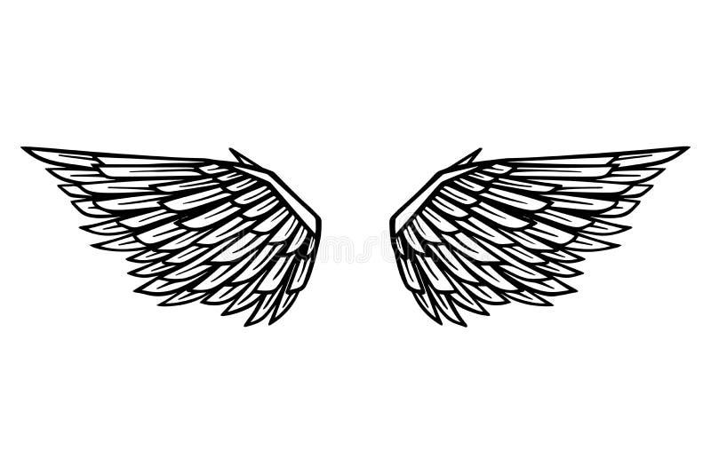 Вручите вычерченную иллюстрацию крылов орла изолированную на белой предпосылке Конструируйте элемент для плаката, карточки, знаме бесплатная иллюстрация