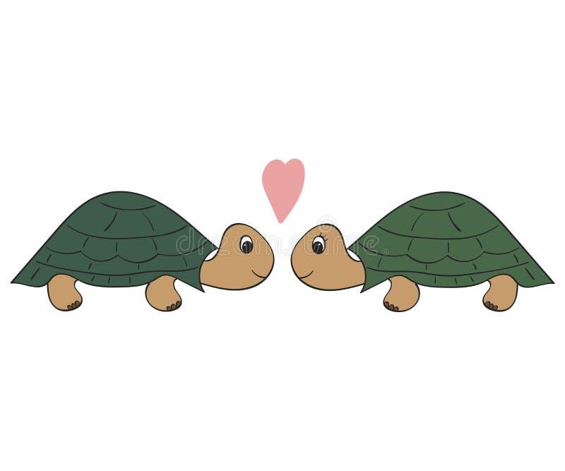 Вручите вычерченную иллюстрацию, пару черепах стоковое фото