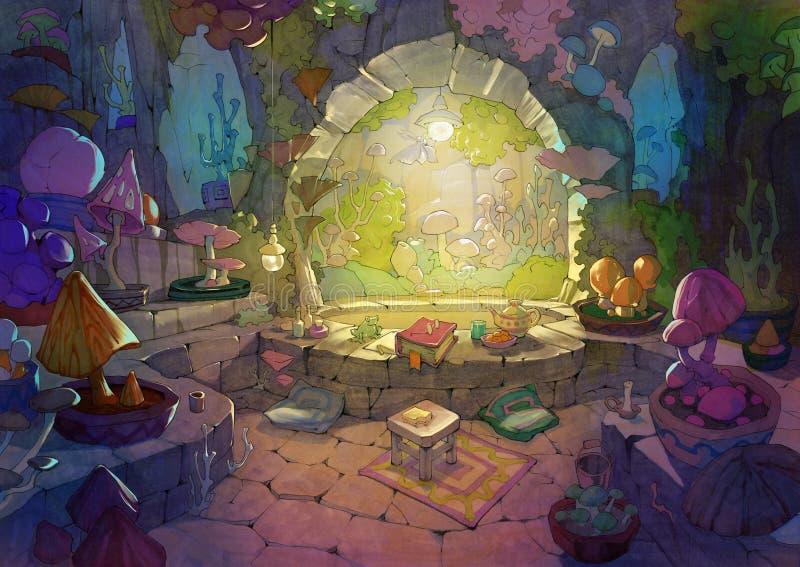 Вручите вычерченную иллюстрацию шаржа с милым wintergarden с сериями различных грибов фантазии иллюстрация штока
