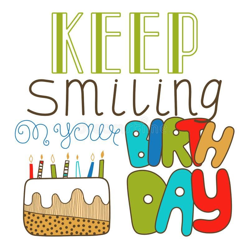 Вручите вычерченную литерность, сдержите усмехнуться на вашем дне рождения Doodle, литерность праздника, поздравления иллюстрация штока
