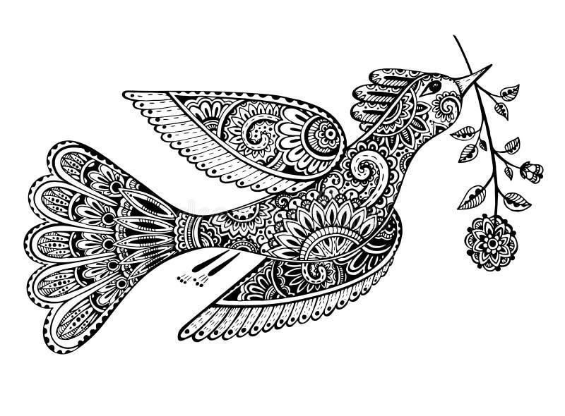 Вручите вычерченную иллюстрацию орнаментальной причудливой птицы с цветком иллюстрация штока