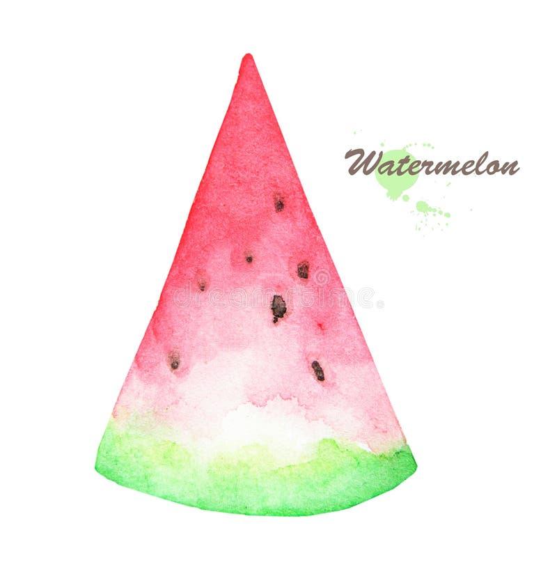 Вручите вычерченную картину акварели арбуза плодоовощ на белой предпосылке иллюстрация вектора