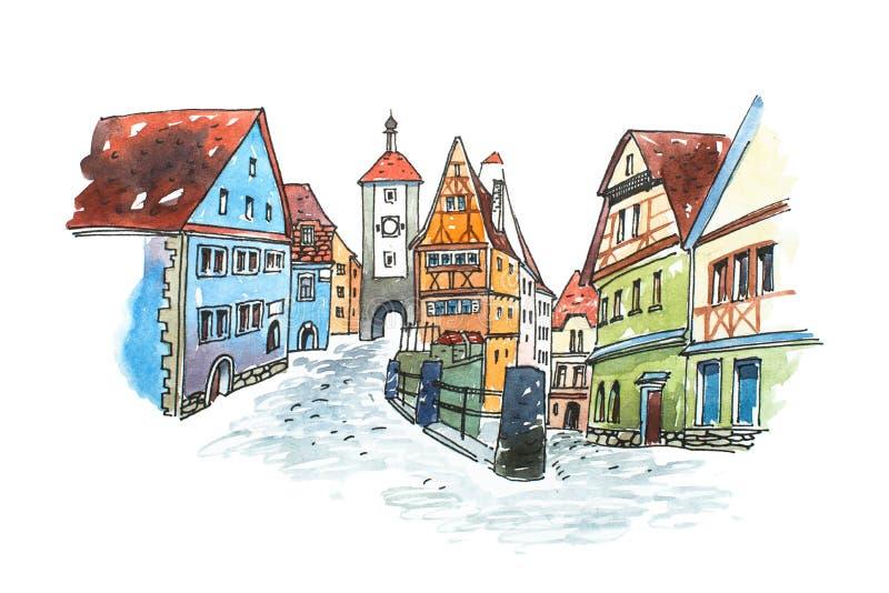Вручите вычерченную картину акварели старого городка в Германии Der Tauber ob Ротенбурга романтичного городского пейзажа баварско бесплатная иллюстрация