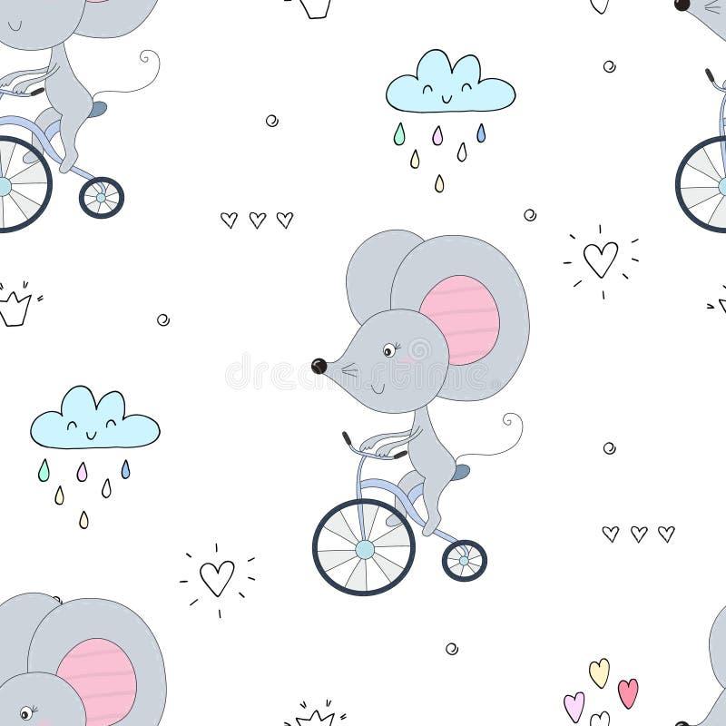 Вручите вычерченную картину образца при маленькая мышь ехать велосипед иллюстрация штока