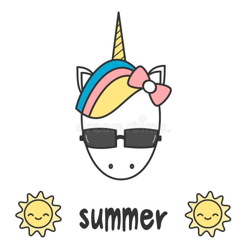 Вручите вычерченную карточку лета литерности с головой единорога милого шаржа красочной с иллюстрацией солнечных очков иллюстрация вектора