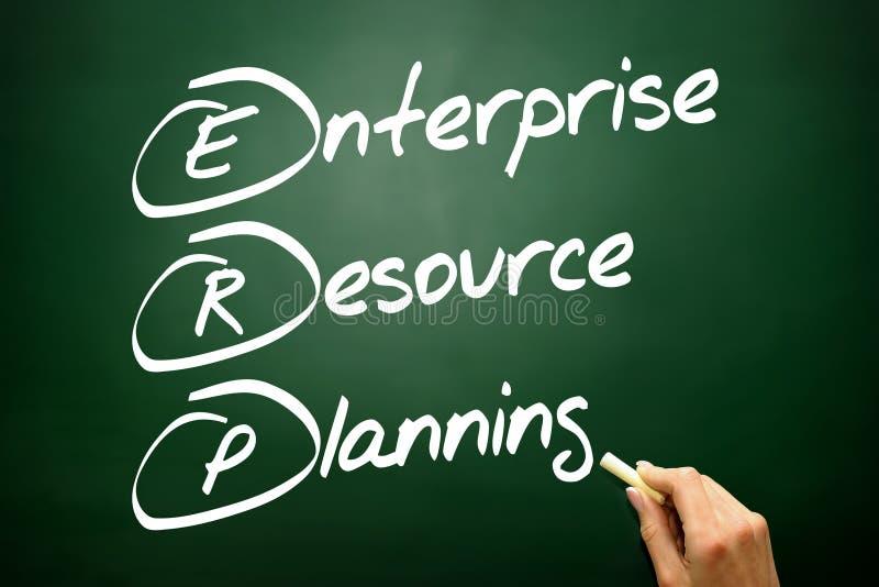 Вручите вычерченную концепцию o дела планирования ресурса предприятия (ERP) стоковое фото