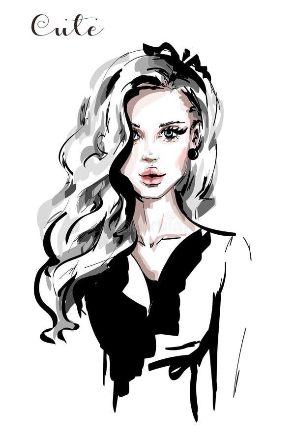 Вручите вычерченную красивую молодую женщину с длинными белокурыми волосами Стильная элегантная девушка женщина портрета способа иллюстрация штока