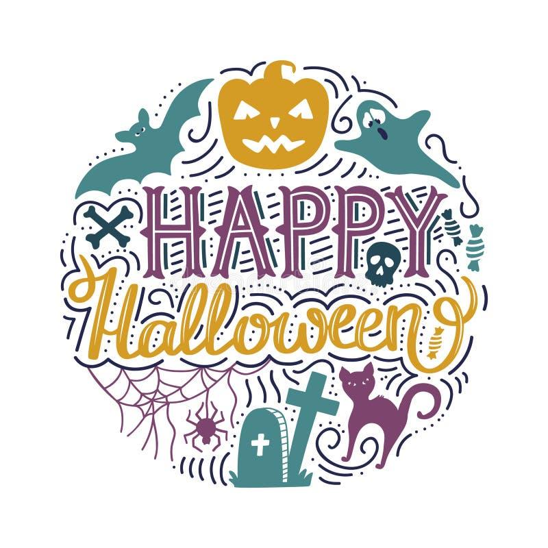 Вручите вычерченную круглую печать с помечать буквами счастливый хеллоуин иллюстрация штока