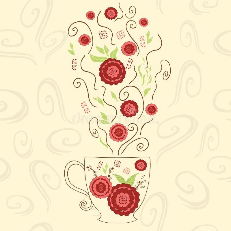 Вручите вычерченную милую чашку с красным чаем гибискуса Улучшите горячий пар с цветками и травой под кружкой Положительный объек иллюстрация вектора