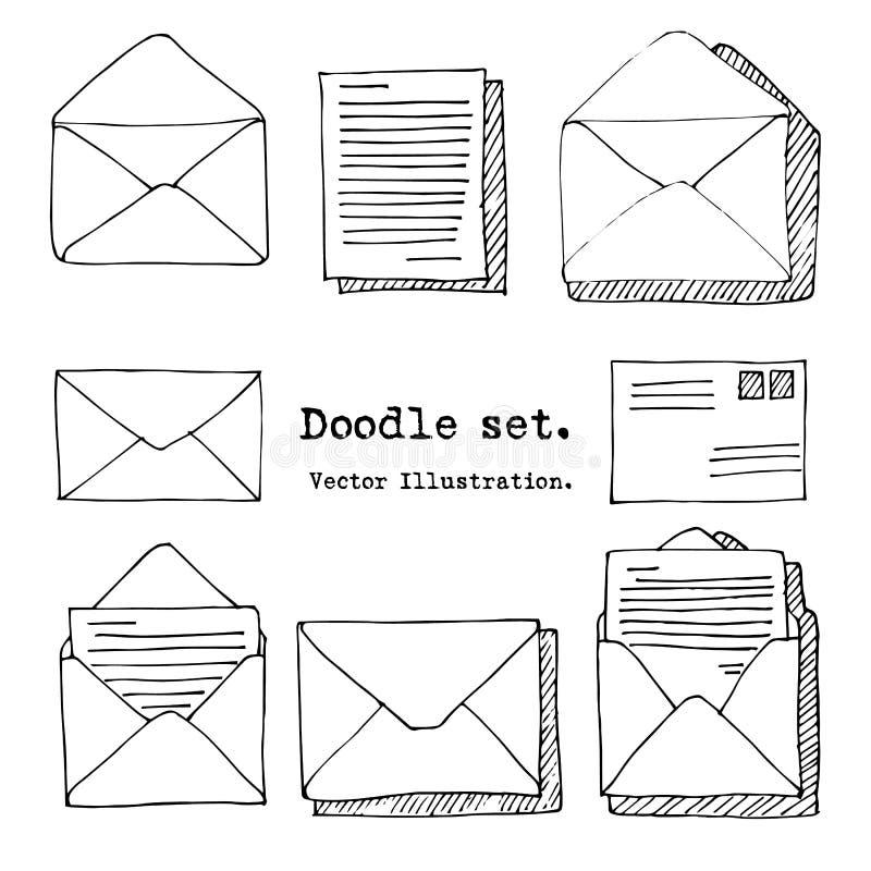 Вручите вычерченную почту, столб, комплект письма также вектор иллюстрации притяжки corel Элементы Doodle Значок почты в стиле эс иллюстрация штока