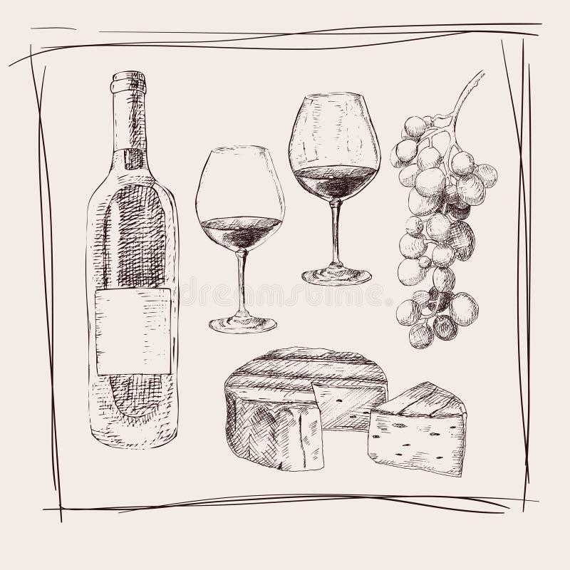 Вручите вычерченную предпосылку с бокалами эскиза чернил, бутылку вина, виноградины, стеклянные печати, сыр Для винной карты или  бесплатная иллюстрация