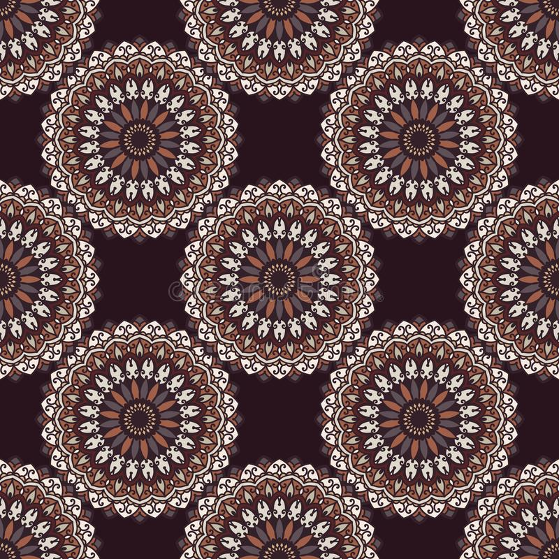 Вручите вычерченную предпосылку с декоративными элементами в коричневых и белых цветах бесплатная иллюстрация