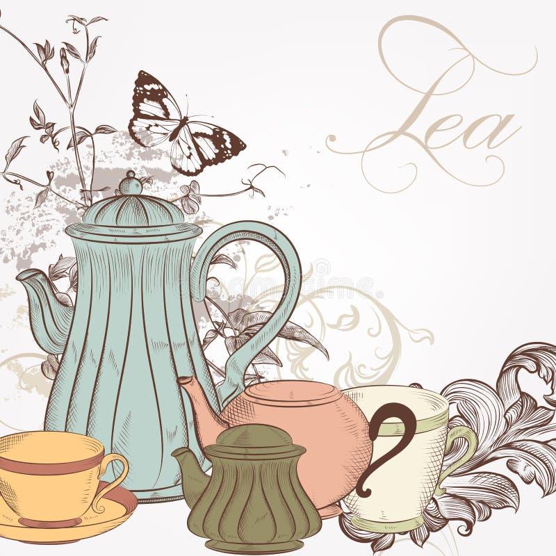 Вручите вычерченную предпосылку вектора с чаем в винтажном стиле иллюстрация штока