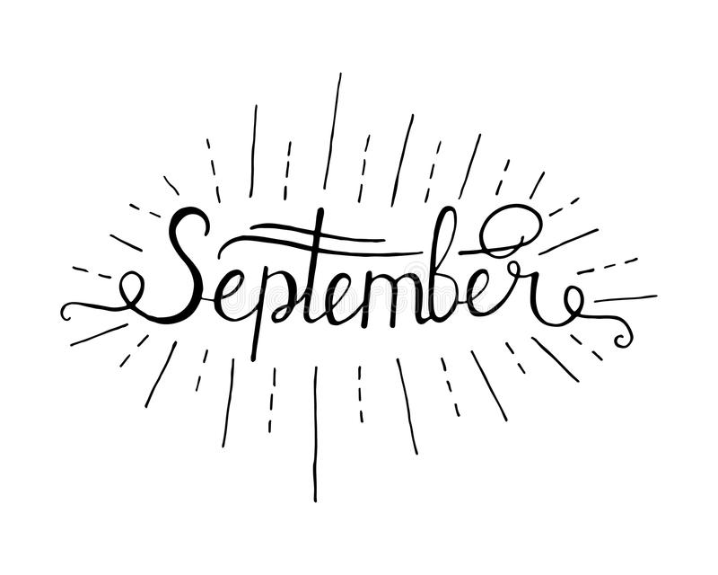 Вручите вычерченную предпосылку литерности чернил здравствуйте! изолированную сентябрем черным по белому бесплатная иллюстрация