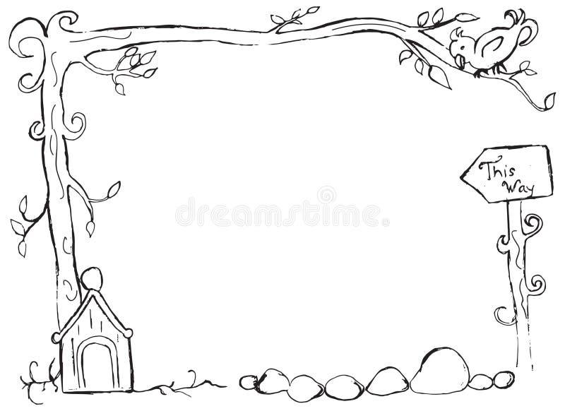 Вручите вычерченную птицу на ветви с рамкой birdhouse иллюстрация вектора