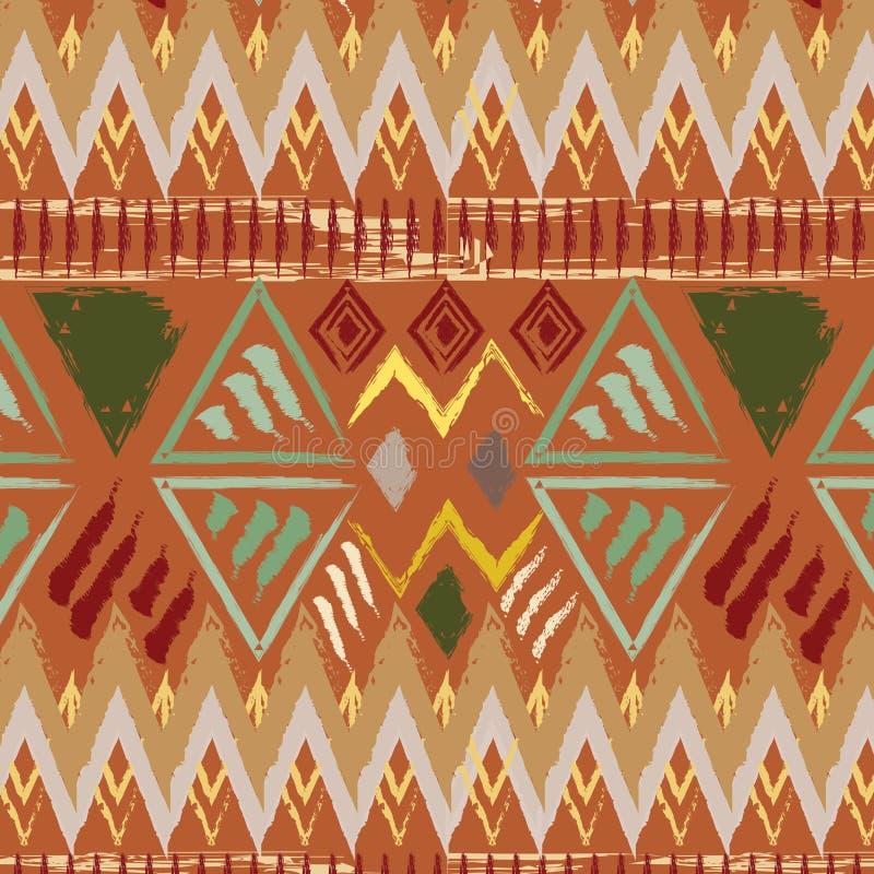Вручите вычерченную племенную этническую красочную безшовную картину на оранжевой предпосылке бесплатная иллюстрация