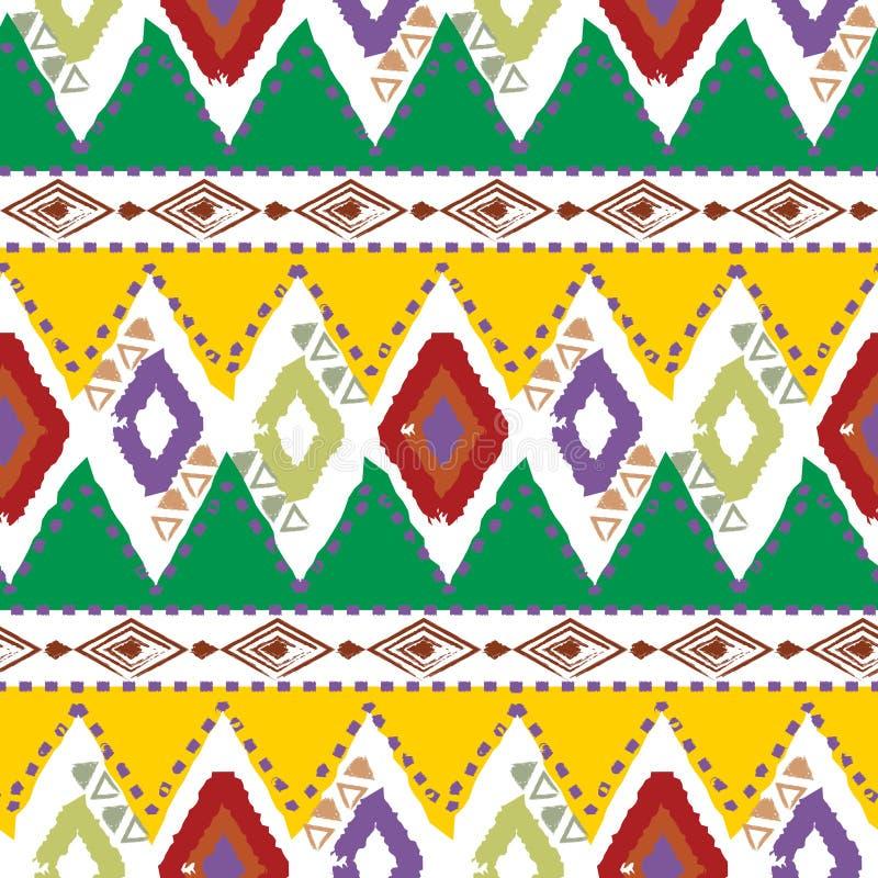 Вручите вычерченную племенную этническую красочную безшовную картину на белой предпосылке иллюстрация штока