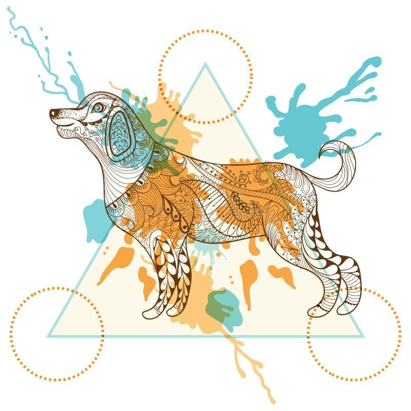 Вручите вычерченную собаку вектора для взрослой страницы расцветки в zentangle, henn иллюстрация вектора