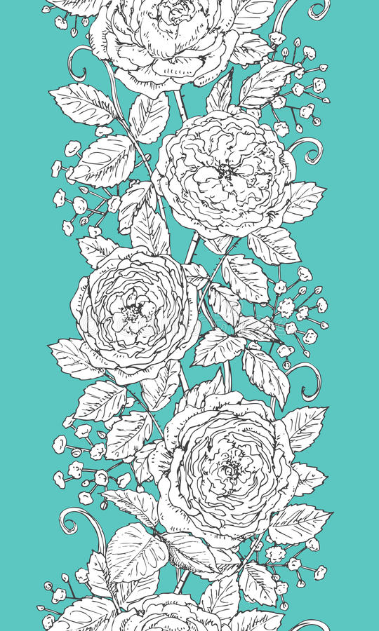 Вручите вычерченную флористическую безшовную картину с розами и гипсофилой бесплатная иллюстрация