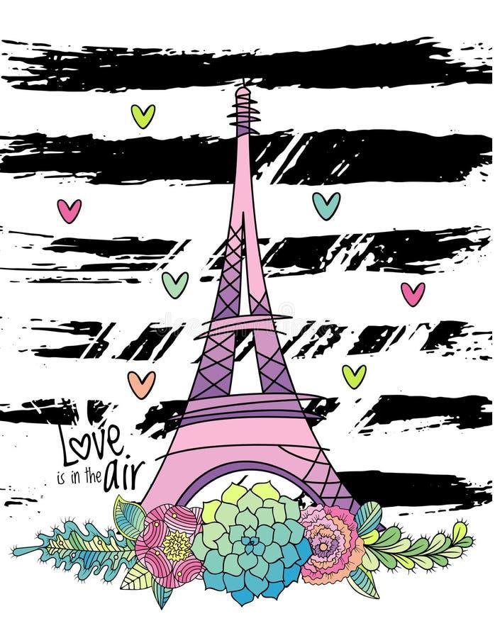 Вручите вычерченную флористическую карточку влюбленности, Эйфелеву башню, вектор бесплатная иллюстрация