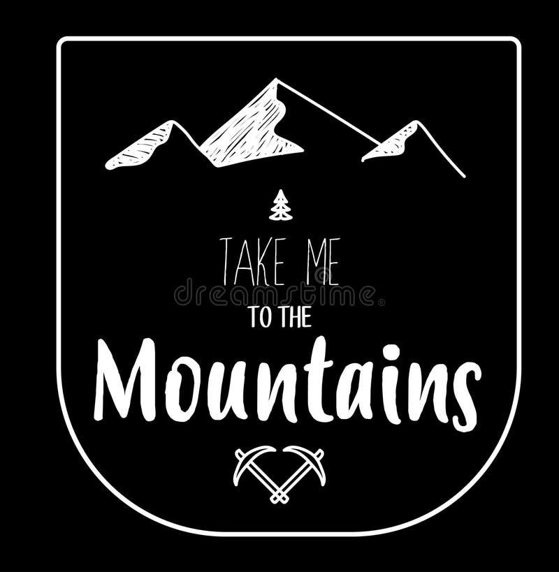 Вручите вычерченную эмблему гор на черной предпосылке, полно editable стоковые изображения rf