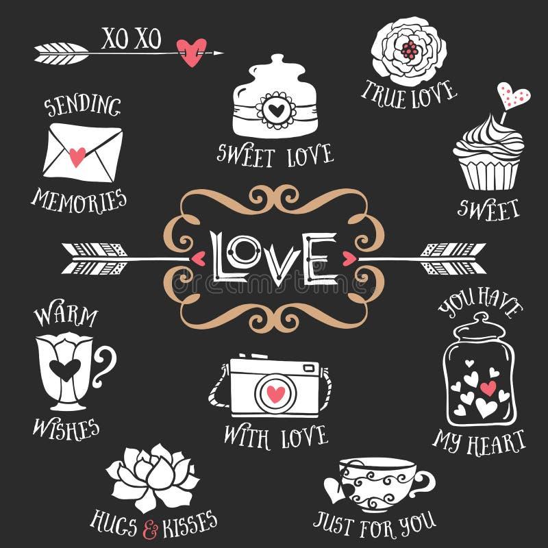 Вручите вычерченные декоративные значки влюбленности с помечать буквами сладостные вещи иллюстрация вектора