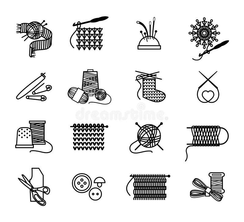 Вручите вычерченные значки вязать, вышивать и шить бесплатная иллюстрация