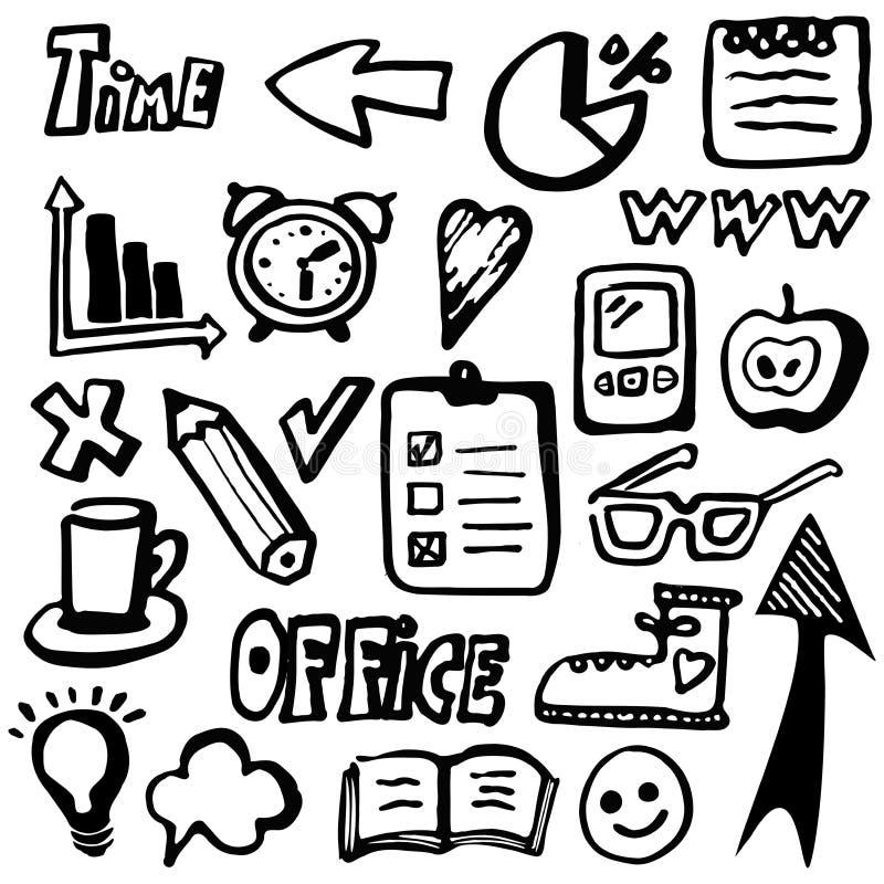 Нарисованные рукой иконы дела офиса, комплект иллюстрация вектора