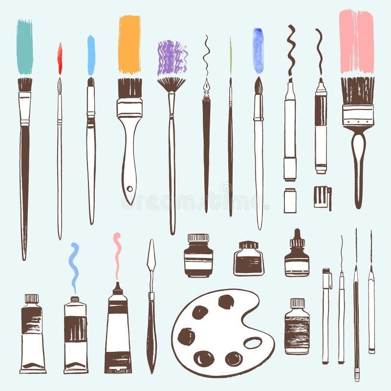 Вручите вычерченные инструменты искусства, комплект иллюстрации оборудования художника иллюстрация вектора