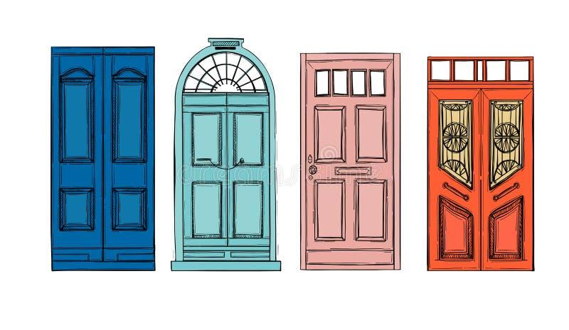 Вручите вычерченные иллюстрации вектора - старые винтажные двери Изолированный дальше иллюстрация штока
