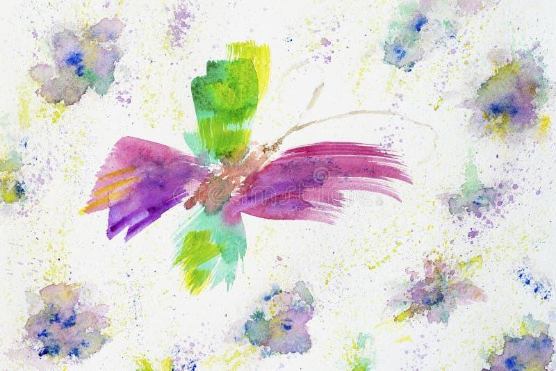 Вручите вычерченные красочные абстрактные жизнерадостные бабочку и цветки на тенях белой бумаги, весны и лета Аннотация бесплатная иллюстрация