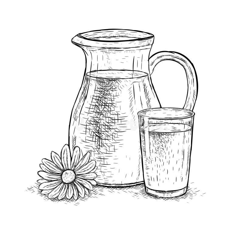 Вручите вычерченные кувшин молока и стекло молока с маргариткой Эскиз вектора иллюстрация штока
