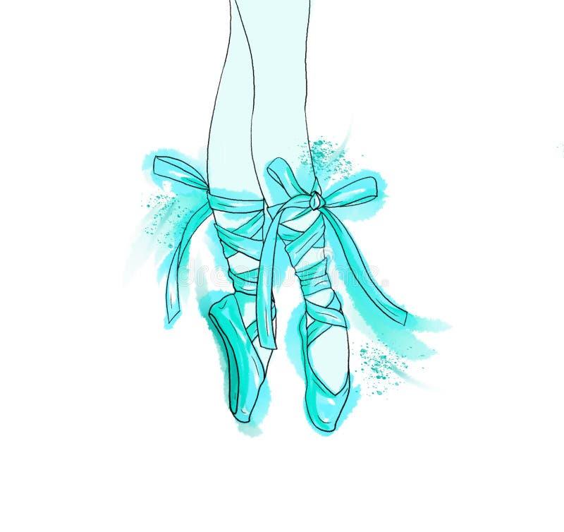 Вручите вычерченные ноги балерины в ботинке pointe балета иллюстрация штока