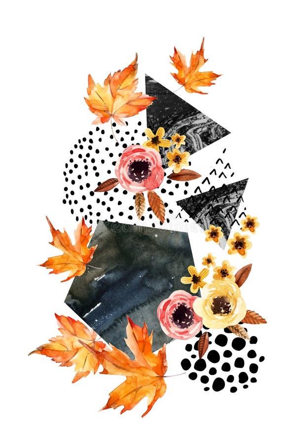 Вручите вычерченные падая лист, doodle, цвет воды, текстуры scribble для дизайна падения иллюстрация вектора