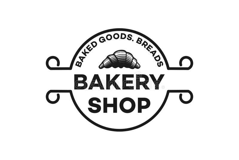 вручите вычерченные печенья, винтажную воодушевленность дизайнов логотипа хлебопекарни изолированные на белой предпосылке иллюстрация штока