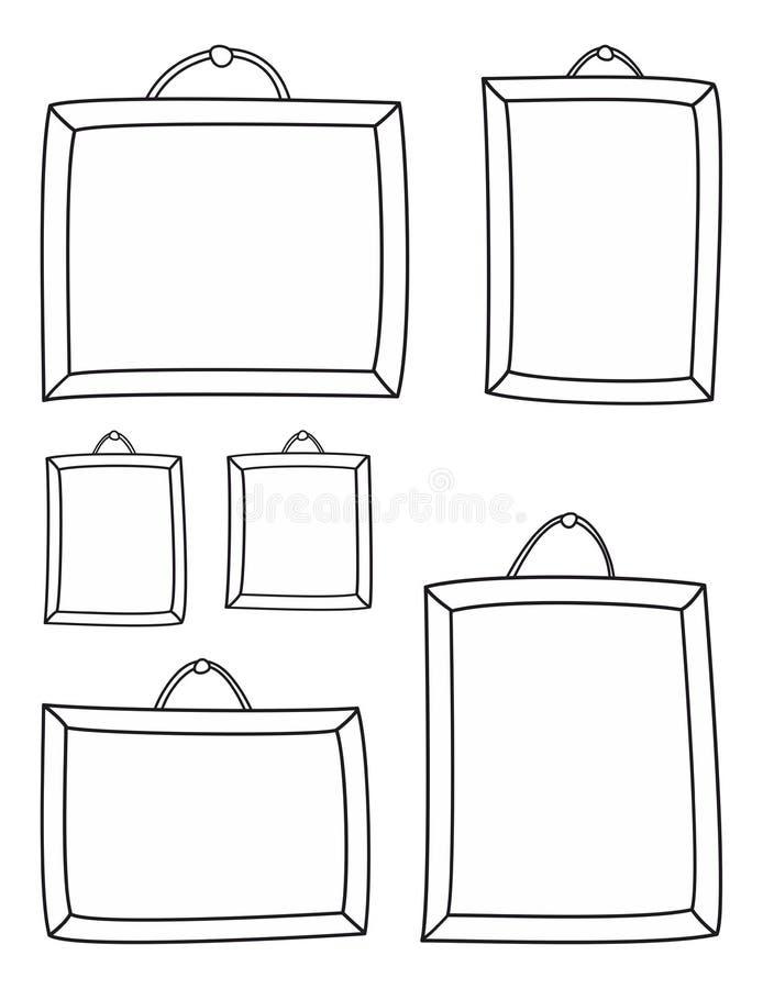 Вручите вычерченные рамки вектора изолированные на белой предпосылке бесплатная иллюстрация
