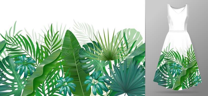 Вручите вычерченные реалистические ветви и листья тропических заводов Яркая линия горизонтальная картина листьев безшовное границ бесплатная иллюстрация