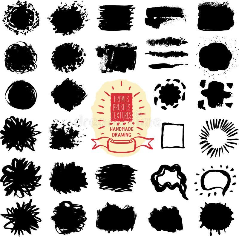 Вручите вычерченные текстуры, рамки, пятна, щетки иллюстрация вектора