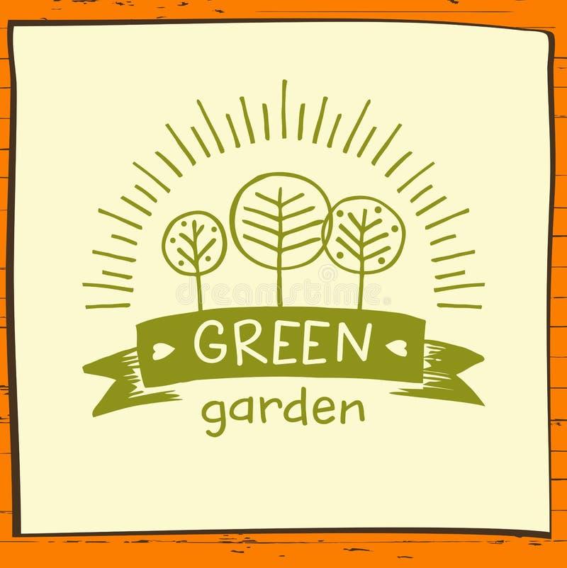 Вручите вычерченные 3 фруктового дерев дерева и солнце Натуральные продукты, растя бесплатная иллюстрация