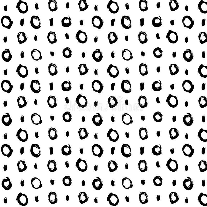 Вручите вычерченные черные круги и точки щетки безшовная картина, иллюстрация вектора бесплатная иллюстрация