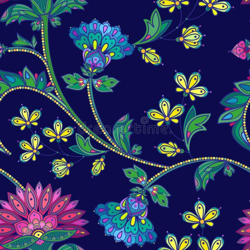 Вручите вычерченный безшовный цветочный узор цвета в индийском стиле mehendi иллюстрация вектора