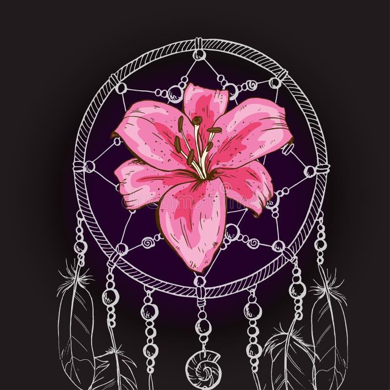 Вручите вычерченный богато украшенный мечт улавливателя с розовым цветком лилии на черной предпосылке также вектор иллюстрации пр иллюстрация штока