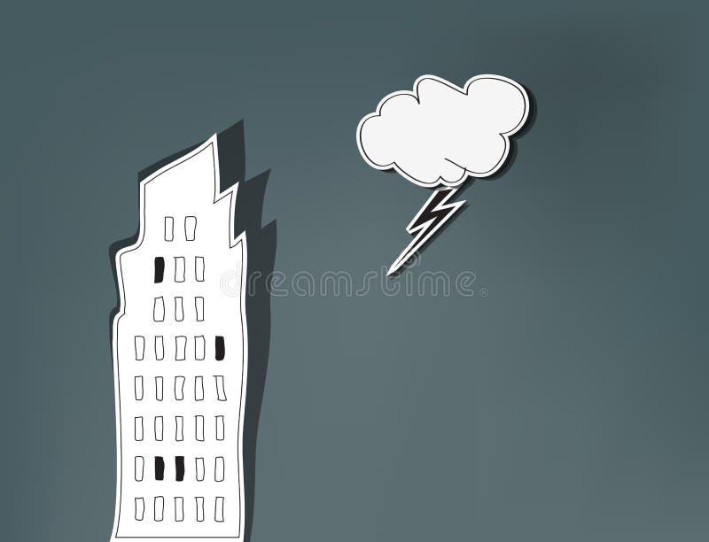 Плохой город дня иллюстрация вектора