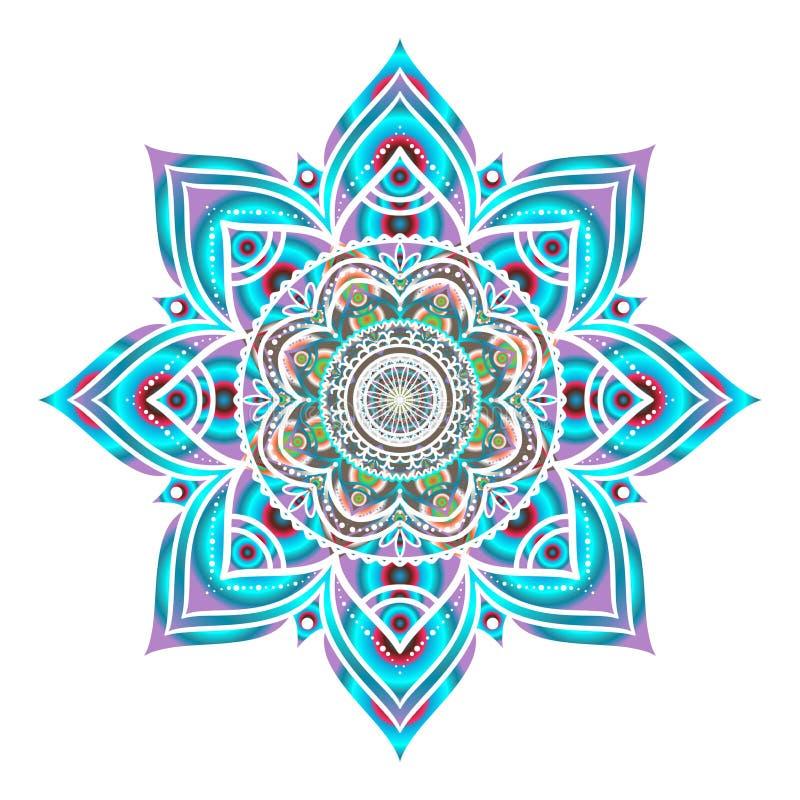 Вручите вычерченный голубой декоративный круглый орнамент изолированный на белизне иллюстрация вектора