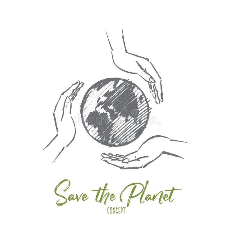 Вручите вычерченный глобус между 3 заботя человеческими руками иллюстрация штока