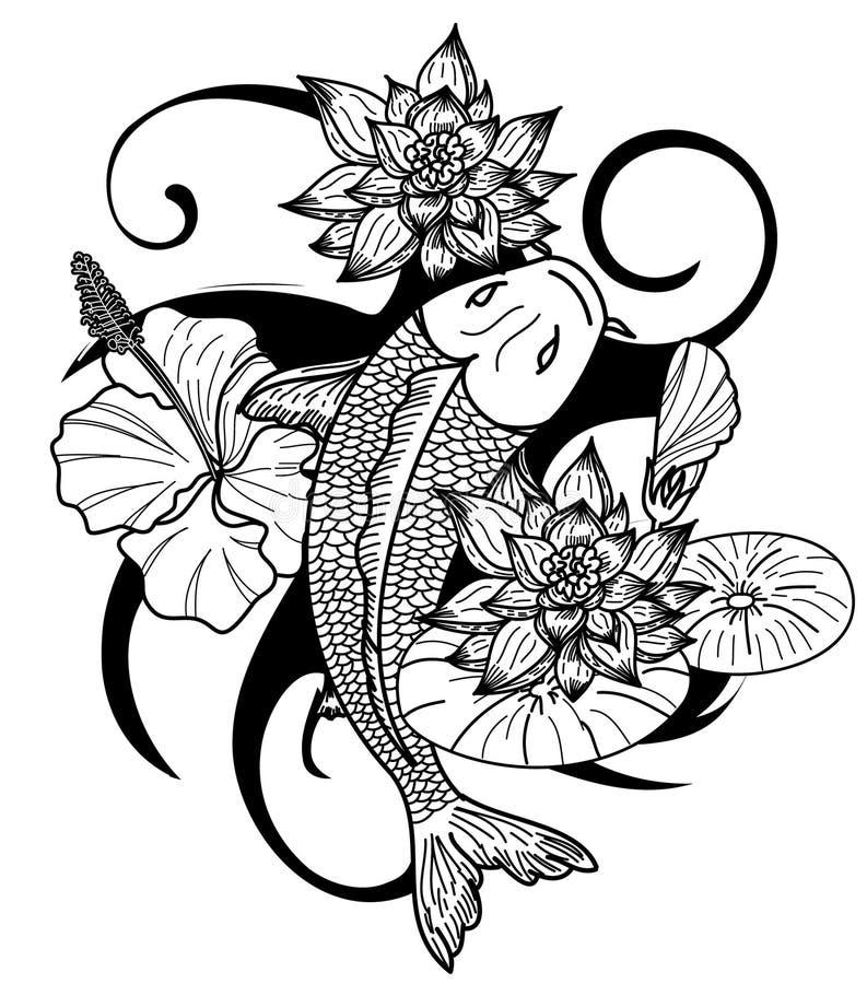 Вручите вычерченный изолят стиля татуировки японца рыб и цветка Koi на белой предпосылке иллюстрация вектора