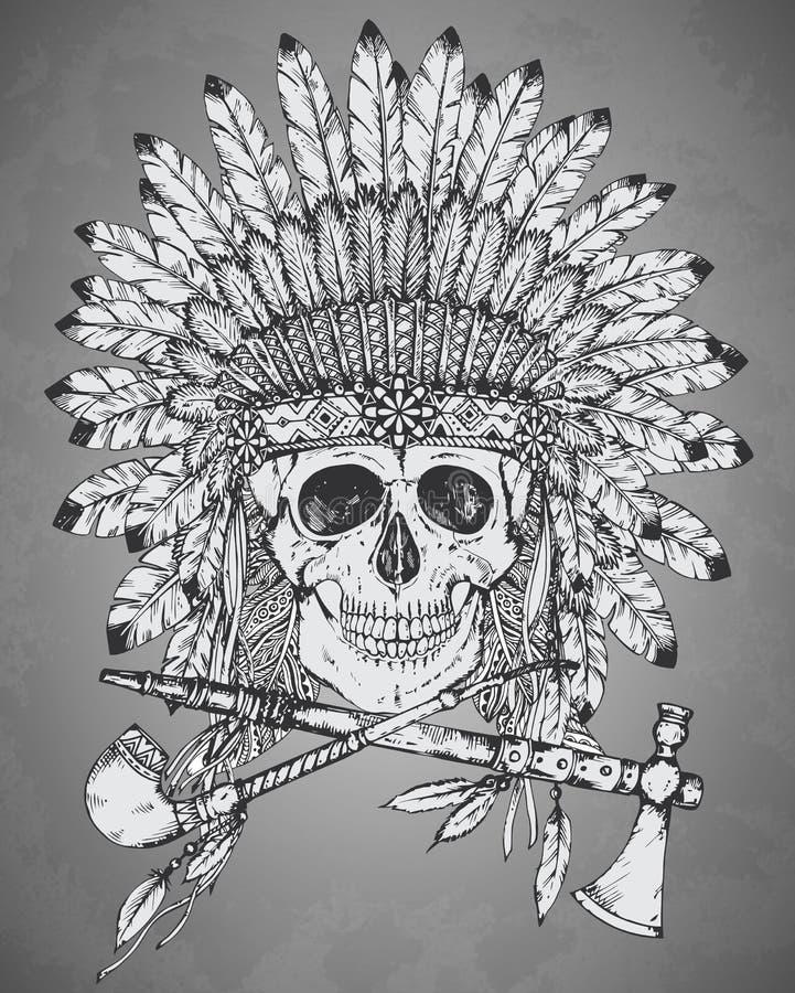 Вручите вычерченный индийский головной убор с человеческими skul, l томагавком и calum иллюстрация вектора
